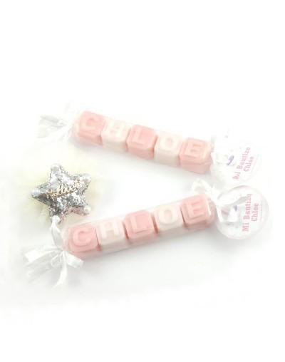 Jabón personalizado - Chloe - Blanco y rosa